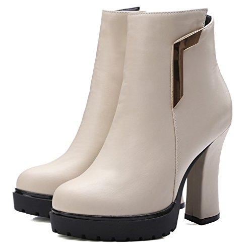 LongFengMa Women's High Heel Ankle Boots Round Toe Platform Glitter Block Heel Shoes Beige H9hSgQ