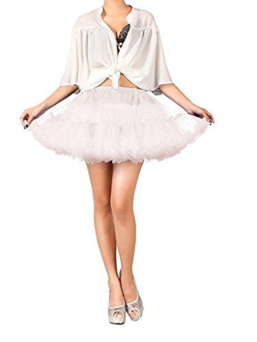 (Dannifore Women's A-Line White Short Petticoat Crinoline Girls Ballet Tutu)