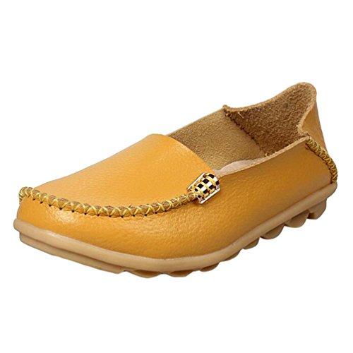 Heheja Mujer Mocasines Ocio Piso Zapatos Comodidad Zapatos de Conducción Amarillo