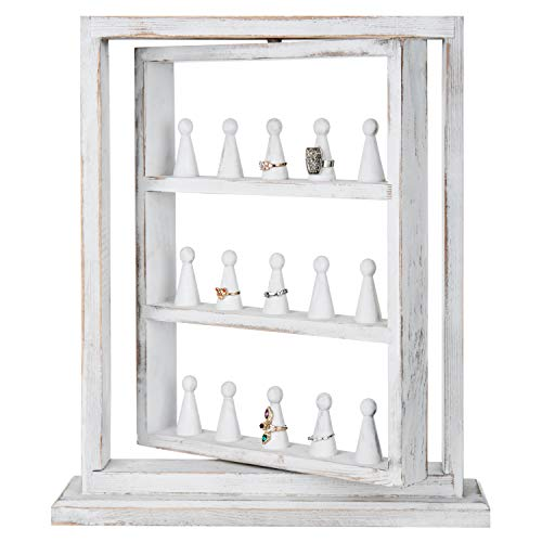 MyGift Rustic Whitewashed Wood 15-Peg Rotating Ring Holder Display Stand