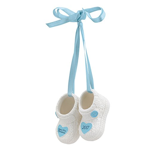 Carlton Ornament 2017 Baby's First Christmas - Boys - Porcelain Booties - Bootie Baby Ornament
