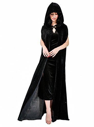 (DSplay Women's Full Length Hooded Long Velvet Cape (Black))