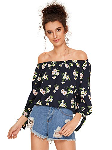 SheIn Women's Off Shoulder Slit Sleeve Tie Cuff Blouse Top X-Small Floral#3 (Off The Shoulder 3 4 Sleeve Top)
