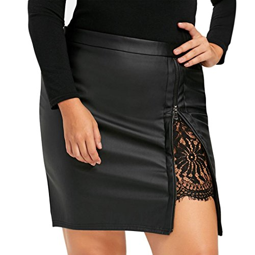 Hot Sale!! Women Faux Leather Skirt,Lelili Sexy Zip Down Floral Lace Side Split Straight Above Knee Mini Skirt (M, Black) (Zip Leather Skirt Side)