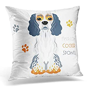 SPXUBZ Black Animal Cute Funny Tricoloured Dog American Cocker Spaniel Breed Brown Cartoon Cotton Throw Pillow Cover Home Decor Nice Gift Square Indoor Pillowcase Standar Size (Two Sides) 44