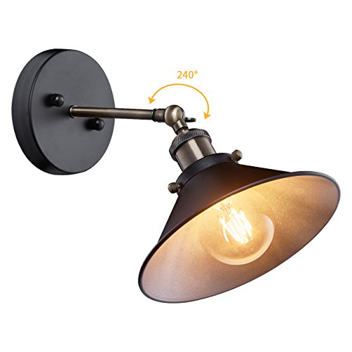 Industrial Wall Sconce, Mini Adjustable Vintage Edison Simplicity Wall Lamp, Loft Style Swing Arm Light Fixtures with Black Metal Shade for Bathroom, Cafe and (Sconces Picture Lighting)