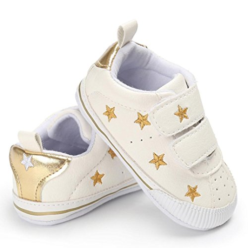 Igemy 1 Paar Kleinkind Mädchen Jungen Krippe Stern Neugeborene Soft Sole Anti-Rutsch Baby Schuhe Sneakers Gold