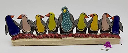 Ceramic Penguins Hanukkah Menorah, Judaic Art from Israel, Playful Handmade Artisan Pottery (Art Menorah)
