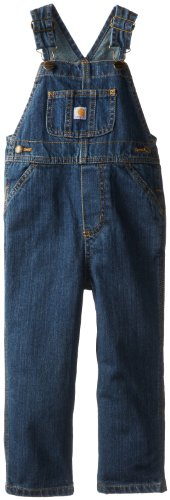 Carhartt Little Boys' Toddler Washed Denim Bib Overall, Worn In Blue, 3T Denim Toddler Bib