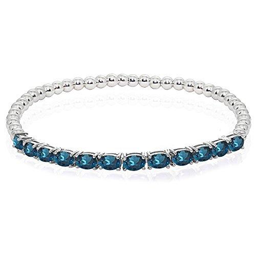 Sterling Silver London Blue Topaz Oval Beaded Stretch Tennis Style - Blue Bracelet Pendant Topaz