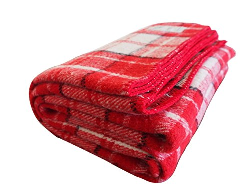 Woolly Mammoth Woolen Company Farmhouse Collection Wool Blanket (Red/Cream/Black Plaid)