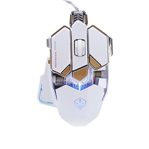 Wal front LED Game Mouse 4000DPI Optical Mouse Wired Cable Mouse Professional Mechanical Gaming Programming Mosuse Computer Accessories(White) (Best Mouse For Programming)