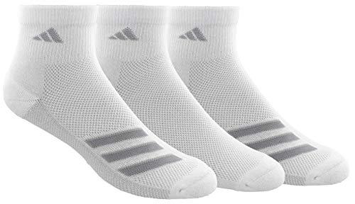 adidas Men's Superlite Stripe Quarter Socks (3-Pair), White/Clear Grey/Clear Onix, Large, (Shoe Size 6-12)