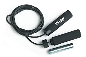 Valeo 2-Pound Weighted Solid Rubber Jump Rope, Adjustable 10-Foot Length With Cushion Foam Handles For Comfortable Grip