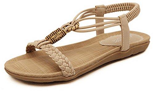 Women's Boho Rhinestone Beaded Wedge Sandals Flip Flop Open-toe Flats Herringbone Heel Platform Shoes In Beige (FlipFlop-Beige 2, 6 B(M) US/37EU)
