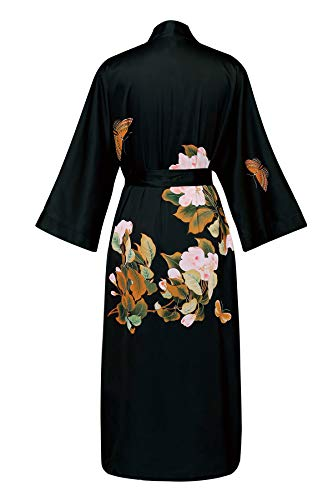 Meegsking Women's Kimono Robe Long Floral Satin Bathrobe Nightgown Bridesmaid Wedding Party Dressing Gown