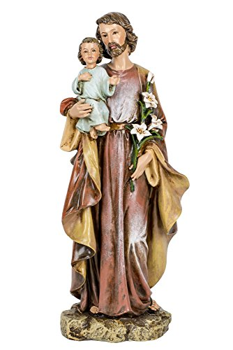 Saint Joseph and Child 10 Inch Resin Stone Decorative Figurine (Joseph Stone)