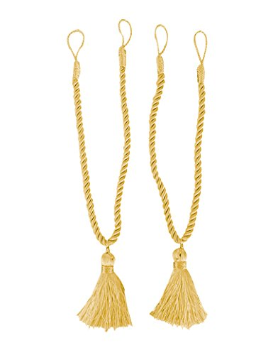 Home Queen Decorative Tassel Rope Tie Backs for Window Curtain, Hand Knitting Buckle Cord Drapery Holdbacks, Set of 2, Gold
