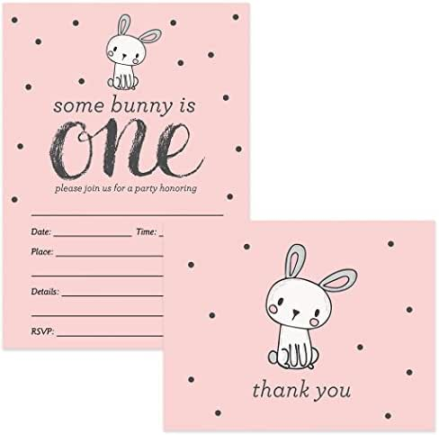 Baby's First Birthday Invites & Matched Thank You Notes (100 of Each) with Envelopes Girl 1st B'day Cute Pink Bunny Rabbit Fill-in Invitations & Thank You Cards Daughter One Year Old Best Value Set