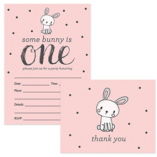 1st Birthday Invitations & Thank You Cards Baby Girl Matching Set with Envelopes (25 of Each) Cute Pink Bunny Rabbit Fill-in Invites & Folded Thanks Notes Daughter One Year First B'day Great Value ()