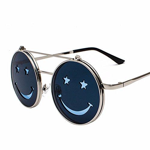 Divertida Sol Marco plateado Gafas Hembras Negro Gris Intellectuality Double Calle y de Deck Gafas Marco de azul decoración de Sol Negro machos Moda v17q4w