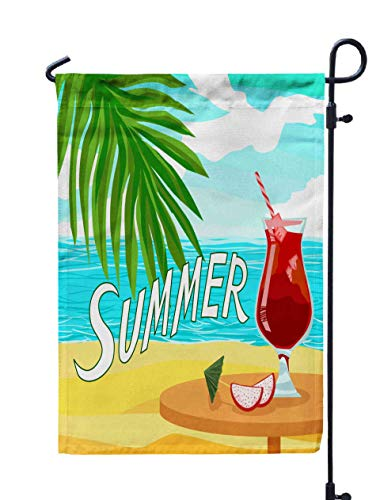 Shorping Welcome Garden Flag, 12x18Inch Quote Summer Red Cocktail Juice Shiny Advertising Party Banner Ice Dragon Fruit Palm Beach in Exotic for Holiday and Seasonal Double-Sided Printing Yards Flags ()