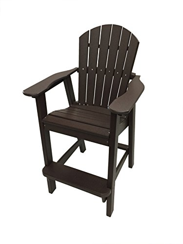 Phat Tommy Recycled Poly Resin Balcony Chair – Durable and Adirondack Patio Furniture Armchair, Brown