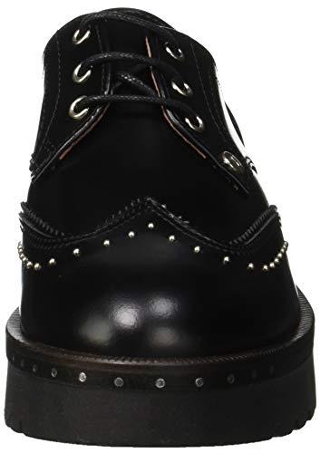 Zapatos de Zig Trussardi Cordones Negro Mujer Derby K299 para Jeans Piping Nero Zag wBqZIXq