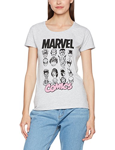 Marvel Comics Multi Heads Ladies, Camiseta para Mujer Gris (Heather Grey)
