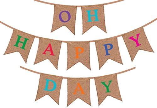 """Guirnalda de Banderines """"Oh Happy Day"""" – Decoraciones Rústicas de Cumpleaños - Boda - Fiesta Baby Shower - Jubilación - Fiesta de revelación del sexo del bebé - Artículos para Celebraciones y"""