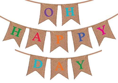 """Oh Happy Day"" Burlap Banner - Rustic Party Decorations for Birthday – Wedding - Baby Shower Announcement – Retirement – Gender Reveal - Congratulations Party Supplies"