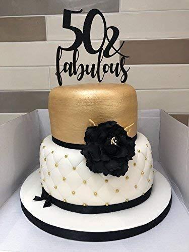 Astonishing 50 And Fabulous Cake Topper 50Th Birthday Cake Topper 50Th Party Personalised Birthday Cards Bromeletsinfo