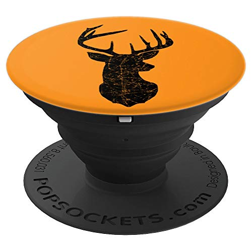 Deer Silhouette Vintage Distressed Hazard Orange & Black - PopSockets Grip and Stand for Phones and Tablets