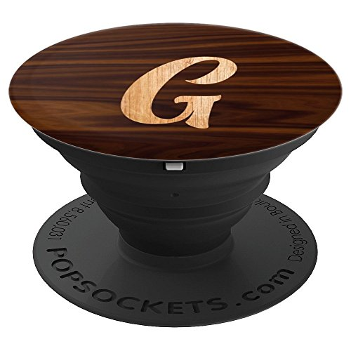 Letter G Initial Monogram Cursive Capital Letter Wood Effect - PopSockets Grip and Stand for Phones and Tablets by Initial Impression Lettered Designs