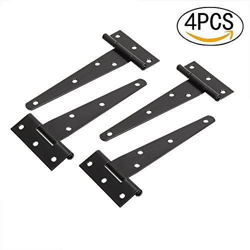 TamBee 5inch T-Strap Shed Hinge Gate Strap Heavy Light Hinge Door Barn Gates Hinges Black Wrought Hardware Iron Rustproof (4)