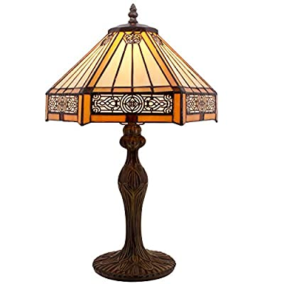 Tiffany Lamps Yellow Hexagon Stained Glass Lampshade Antique Base Mission Style End Coffee Table Lamps Read Lighting W12 H18 Inch for Living Room Bedroom Bedside Desk S011 WERFACTORY