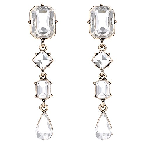 BriLove Women's Wedding Bridal Crystal Emerald Cut Teardrop Mix-Shape Dangle Earrings Clear Antique-Gold-Tone (Antique Style Dangle Earrings)