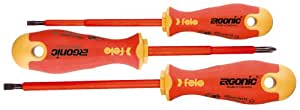 Felo 07157 53175 Ergonic Insulated Slotted and Phillips Screwdrivers, Set of 3
