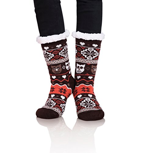 ec1dedf286 Dosoni Women s Owl Snowflake Fleece Lining Knit Slipper Socks Christmas ...