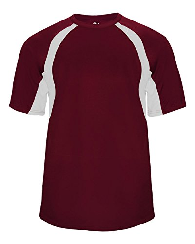 Maroon/White Adult Large Two-Color Shoulder Baseball/Softball Sports Wicking Jersey/Shirt