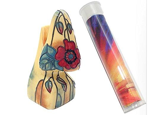 Poppy Floral Tupton Ceramic Novelty Eyeglass Holder Stand & Lens Cleaning Cloth (Ceramic Poppy Stand)