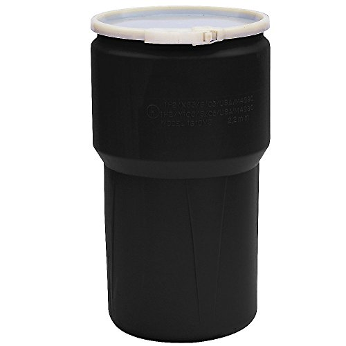 Eagle Plastic Drum - Tapered - Plastic Lever Lock - 14-Gallons - Black - Black by Eagle