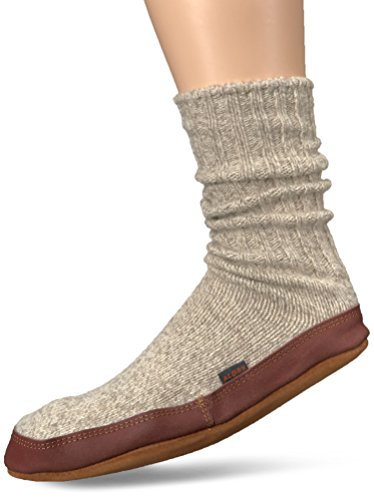 Acorn Unisex Sock Slipper, Light Grey Ragg Wool, Large(11-12 Women's/9-10 Men's) B (Nylon Wool Heels)