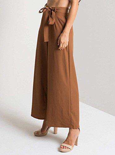 Tissu Poches Pantalon Droit Avec Ceinture Chic Avant Confortable Large Monochrome Zipper Femmes Braun Automne Libre Style Printemps Long WZq1wAUZ