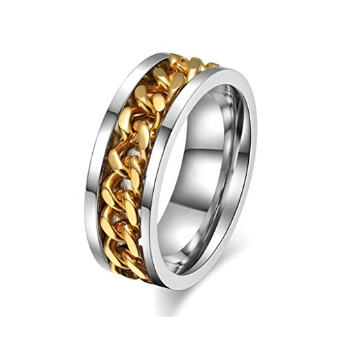 MoAndy Anniversary Ring Stainless Steel Ring Men Wedding Ring Chain Design Size ()