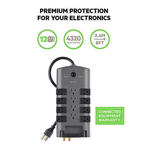 Belkin 12-Outlet Pivot-Plug Power Strip Surge Protector w/ 8ft Cord - Ideal for Computers, Home Theatre, Appliances, Office Equipment and more (4,320 Joules)