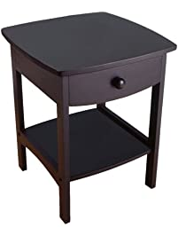 winsome wood end tablenight stand with drawer and shelf black