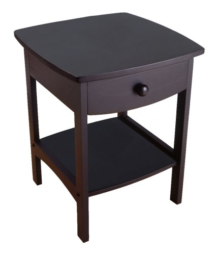 Winsome Wood End Table/Night Stand with Drawer and Shelf, Black - Top Carved End Table