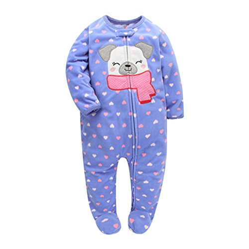 CARMELA HILL WILLIAMS 2018 Christmas Baby Girl Clothes, Soft Fleece Kids one Pieces Jumpsuits Pajamas ()