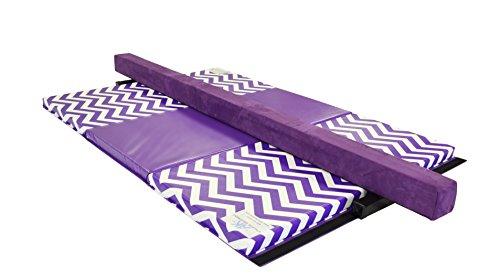 AK Athletics Folding Gymnastics Mat and 8' Suede Balance Beam Combo Purple Chevron